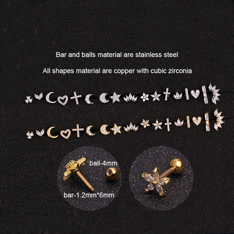 SHUANGR Gold Silver Color CZ Cartilage Stud Moon Star Heart Cross Flower Crown Helix Piercing Tragus Stud Conch Earring Jewelry