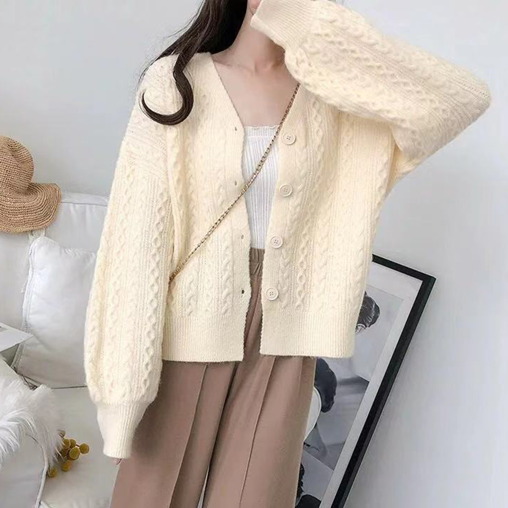 OEAK Twist Cable Sweaters Coat Flowers Knitted Cardigan Pink Blue White Loose Autumn 2020 V Neck Femme Korean Style Sweater