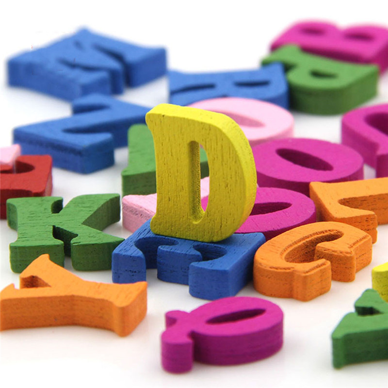 100pcs/lot DIY Wooden Alphabet Crafts Kids Educational Scrabble Letters Colorful Craft Jigsaw Puzzles Toys For Children