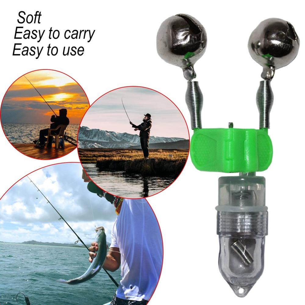 2//6Pcs LED Light Double Twin Bells Tip Clip On Fish Fishing Rod Bite Alarm