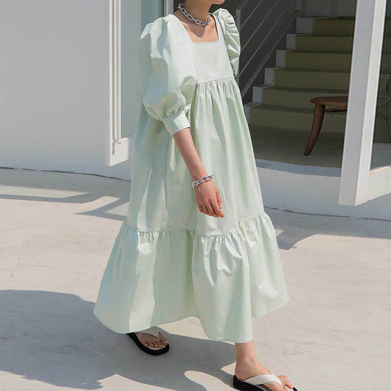 SHENGPALAE 2020 새로운 여름 여성 빈티지 느슨한 높은 허리 슬림 얇은 우아한 스퀘어 칼라 퍼프 슬리브 맥시 드레스 za4360했다