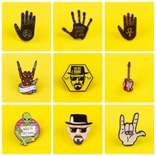 Punk Gesture Badges for Clothes Alien Brooches Badge Enamel Pins for Backpacks Badges on Backpack Clothes Lapel Pin Accessories punk dark brooches enamel pins skull skeleton coffin lapel pins for backpacks badges for clothes brooch clothes lapel pin badge