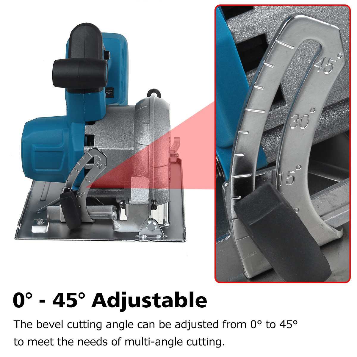 Tools : 10800RPM 125mm Cordless Electric Circular Wood Cutter 0     to 45     Adjustable Sawing Machine for 18V Makita Battery  Color Randem