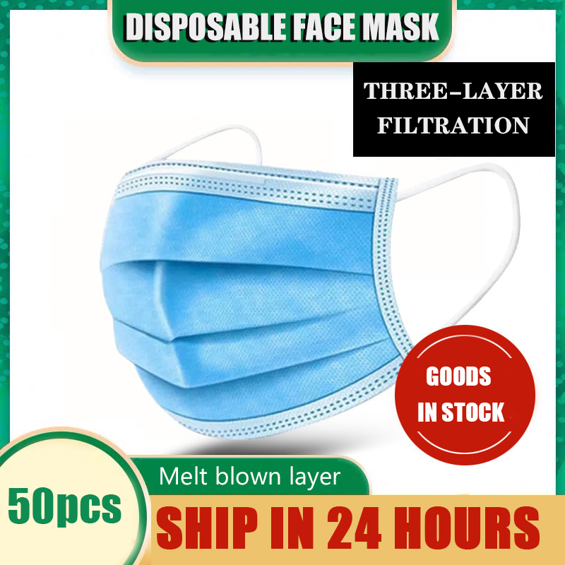 50 Pcs Non Woven Respirator Disposable Face Mask 3-layer Masks  Adult Ear Type Anti-dust Meltblown Mouth Mask