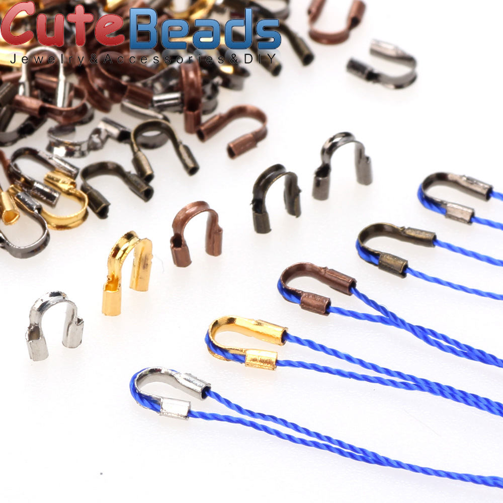200pcs 6.5/4.5mm Brass Wire Protectors Wire Guard Guardian Protectors Loops U Shape Clasps Connector For Jewelry Making