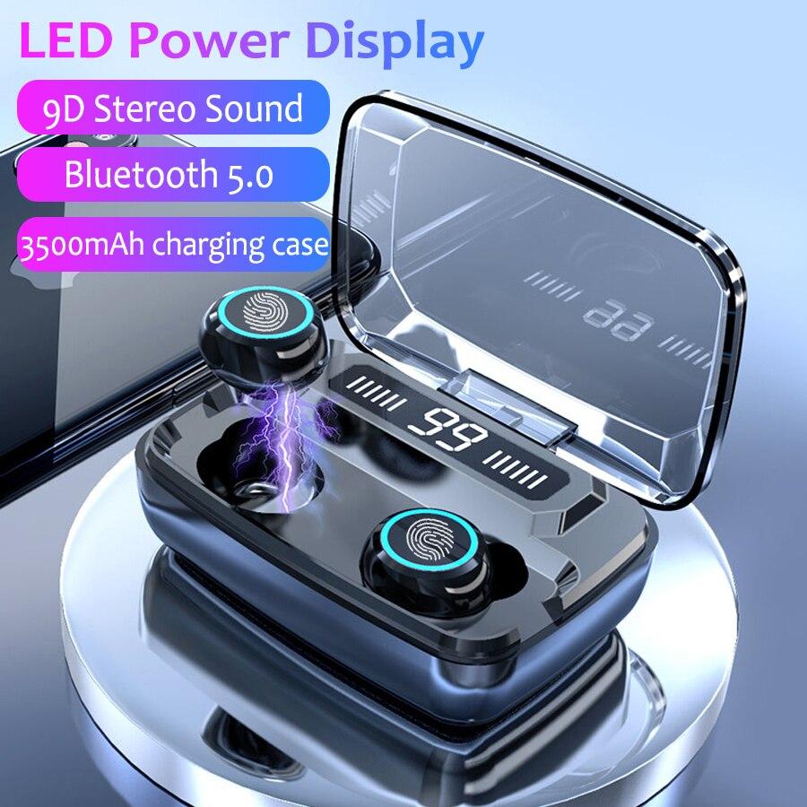 3500 мАч светодиодный Bluetooth Беспроводные наушники TWS сенсорное управление Спортивная гарнитура шумоподавление наушники