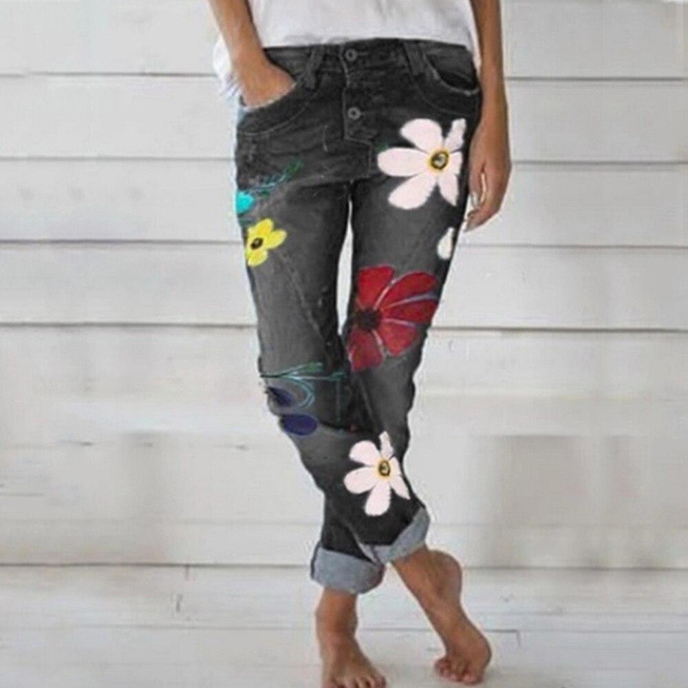 2020 Fashion Jeans Woman Deep Blue Denim Pants Med Waist Women's Jeans Skinny Slim Pant Denim Jeans Retro Bell Bottom