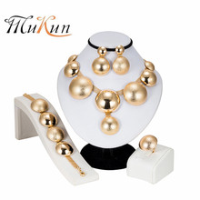High Quality Dubai Round Gold Jewelry Sets for Women Vintage Wedding Big Necklace Crystal Earrings Bridal