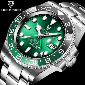 LIGE DESIGN Sapphire Glass 40MM Ceramic GMT Mechanical Watches 100m Waterproof GMT Classic Fashion Luxury Automatic Watch 2020 hot mens watch automatic mechanical watches gmt stainless steel blue red ceramic sapphire glass 40mm men watches wrist watches