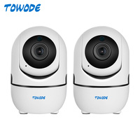 TOWODE-cámara inteligente de seguridad para el hogar, dispositivo de vigilancia de interior con alarma de detección de movimiento, WIFI, Control por aplicación Tuya, HD 1080P, 2 uds.