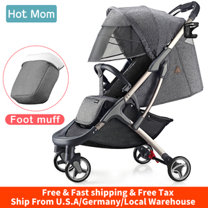 Baby Carriage Stroller lightweight with foot muff,Hot Mom Compact portable Buggy ,Mini Travel Stroller,M19-Grey(China)