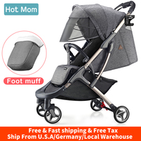 Baby Carriage Stroller lightweight with foot muff,Hot Mom Compact portable Buggy ,Mini Travel Stroller,M19 Grey