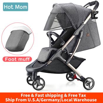 Wózki dla dzieci wózek lekki z foot muff Hot Mom kompaktowy przenośny Buggy Mini wózek podróżny M19-Grey tanie i dobre opinie 25KG Numer certyfikatu