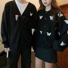 Venda quente de manga longa outono amante casal blusas borboleta tb estilo marca nova marca masculina malha cardigan camisola moda topo