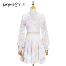 Sleeve-Shirt Ruched Skirt TWOTWINSTYLE Elegant-Sets Two-Piece-Set Print High-Waist Women