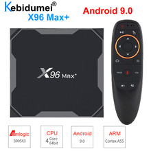 TV Box X96 Max +, Android 9,0, decodificador de señal con WiFi, Bluetooth, Amlogic S905x3, 8 K, Reproductor Multimedia Inteligente, 4GB, 32GB/64GB, G10s, teclado I8
