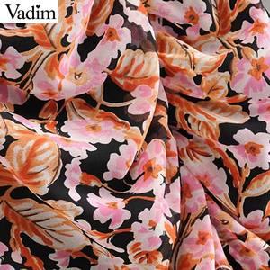 Image 5 - Vadim kadınlar zarif çiçek şifon maxi elbise ruffles O boyun uzun kollu geri fermuar ince fit kadın ayak bileği uzunluk elbise QC823