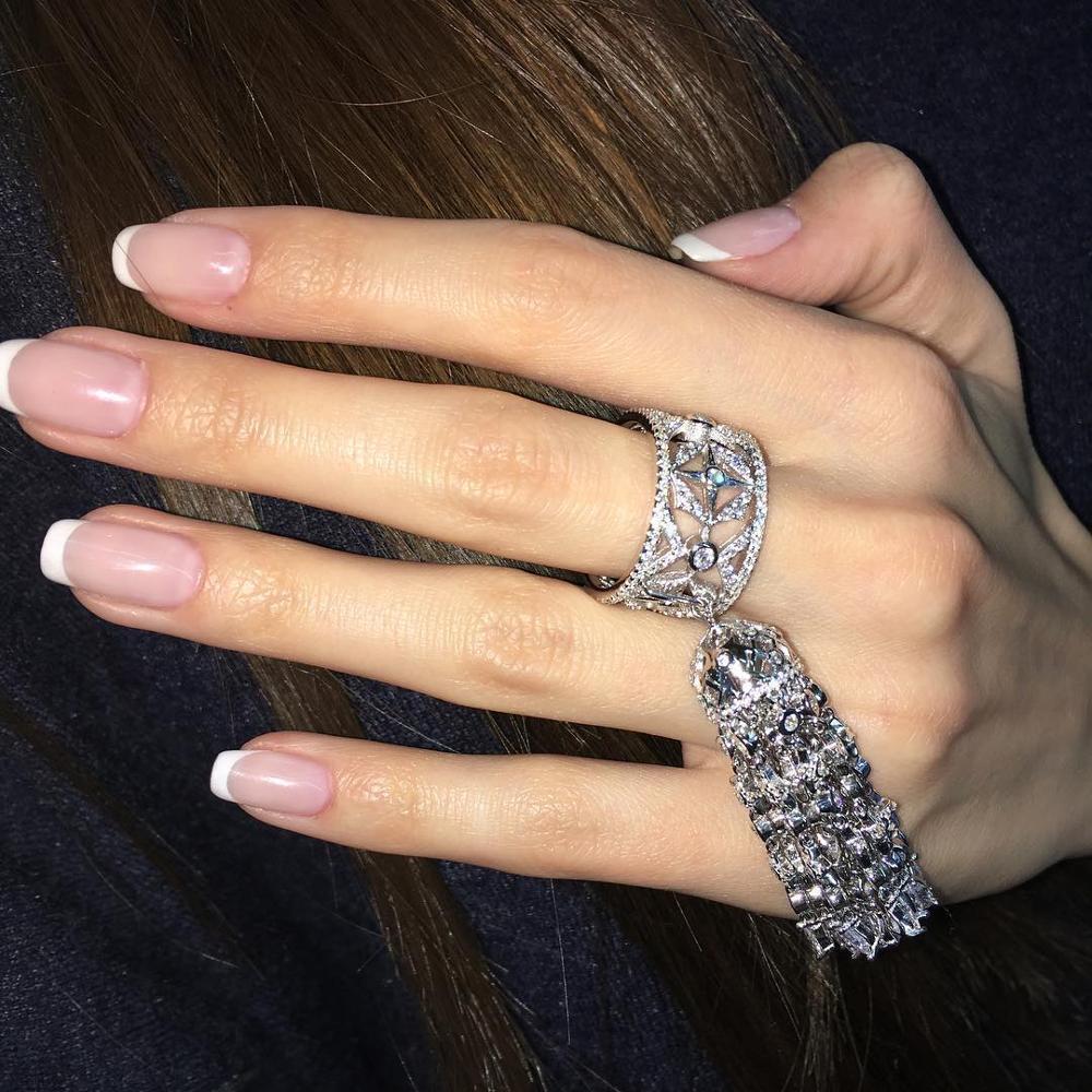 Anneaux de gland de femmes avec la brosse d'étoile poids environ 21gr bijoux en argent Sterling pur grand anneau de Cocktail pour l'engagement de mariage - 3