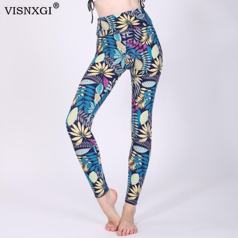 Spring 2020 Fashion Girl Legging Spandex Aptitud Print Floral Leggings Leggins Milk Silk Women Pants Leaf Tetris Clothing K090