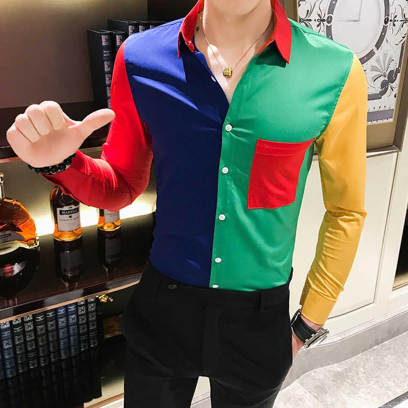 Camisa de lujo de oro negro de otoño 2019 camisa barroca de hombre de manga larga de retazos camisa Casual de hombres Slim Fit estampado Fiesta Club camisa