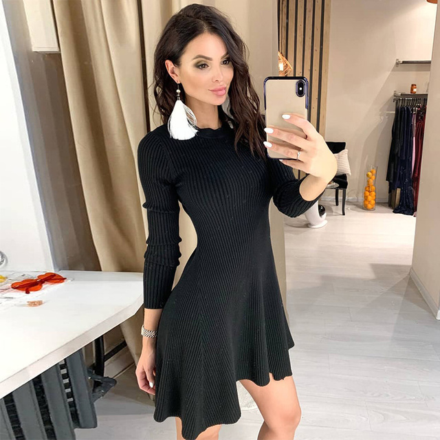 Women Long Sleeve Sweater Mini Knitted Dresses 1