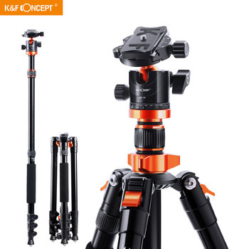 K&F Concept Camera Tripods for DSLR Aluminum Travel Vlog Tripod Monopod with 360 Degree Panorama Ball Head Loading Up to 10kg tripod weifeng wf 3958m camera tripods monopod slr camera portable travel tripods support foot tripods