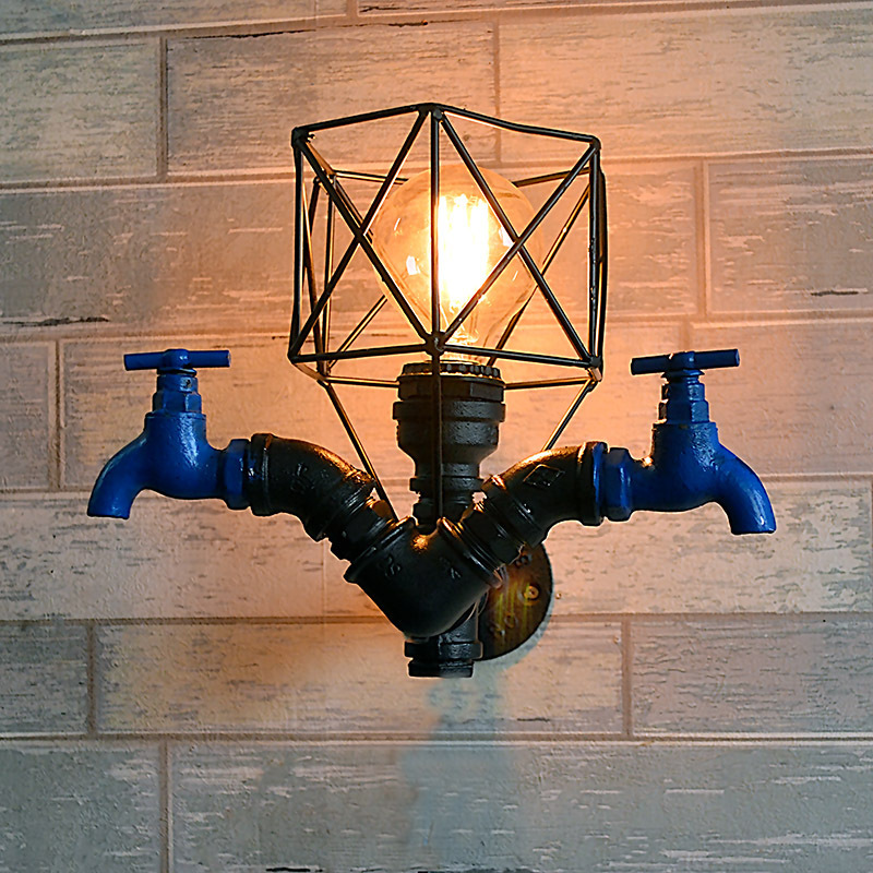 Vintage Water Pipe Wall Lights for Home Iron Bird Cage Industrial Lamp Wall Sconce Light Fixtures Bedroom Bathroom Mirror Light