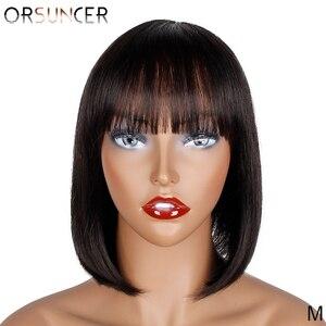 ORSUNCER péruvien 10/12 pouce court droit humain BOB perruque pour les femmes noires non-remy 100% perruque humaine couleur naturelle moyen rapport