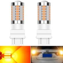 2 adet LED 3156 3157 1156 BA15S 7443 WY21W LED lamba 1157 bay15d P21 5W ampul otomatik park DRL fren kuyruk ters işıklar beyaz amber