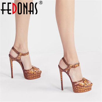 FEDONAS Sexy Fashion Platforms Women Sandals 2020 Summer Brand Design High Heels Pumps Night Club Party Wedged Shoes Woman Heels