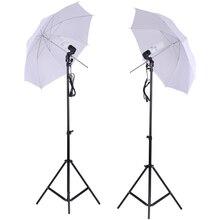 "Foto Studio Verlichting Kit Set 2 Stuks 2M 6.6Ft Light Stand + 2 Stuks 33 ""Wit Zacht Licht paraplu + 45W Gloeilamp + Swivel Socket"
