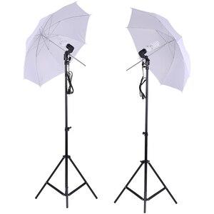 """Image 1 - Kit déclairage de Studio Photo 2 pièces 2M 6.6Ft support de lumière + 2 pièces 33 """"blanc parapluie léger doux + 45W ampoule + prise pivotante"""