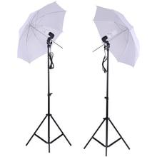 """Kit de iluminação estúdio foto conjunto 2 pçs 2 m 6.6ft suporte de luz + 2 pçs 33 """"guarda chuva luz suave branco 45 w lâmpada soquete giratório"""