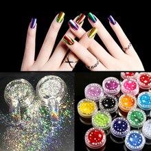 3Pcs Mix Color Nail Chrome Pigment Powder Holographic Glitter Mirror Dust Manicure DIY Art Decoration