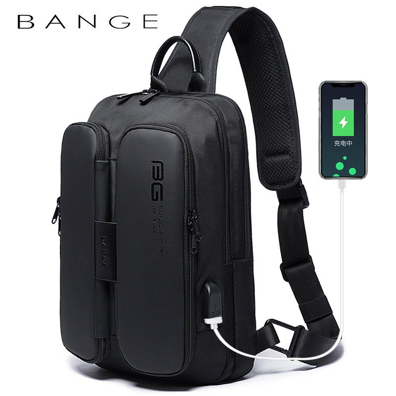 2020 Class Song New Style Fashion Casual Outdoor Science And Technology USB Cool Shoulder Bag Chest Pack Men's