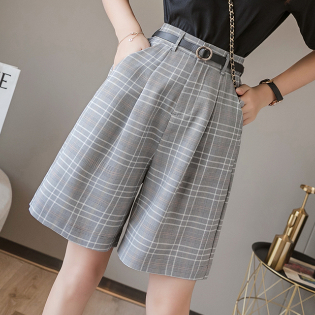 Seoulish 2021 New Summer Women's Shorts with Belted Solid High Waist Office Wide Leg Shorts Elegant Purple Loose Trousers Pocket 4
