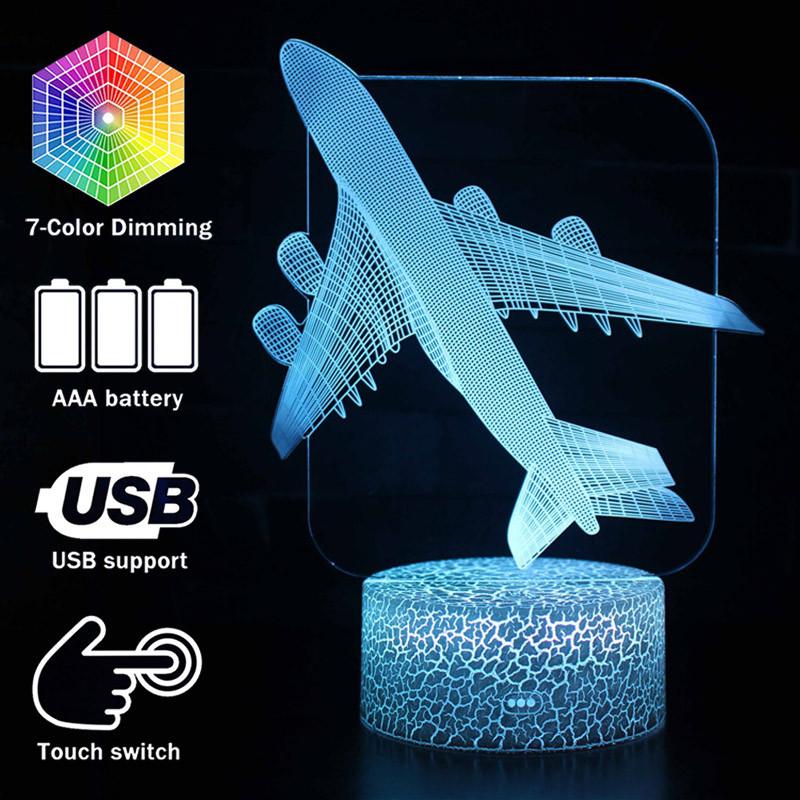 Airplane Model 3D illusion Lamp Kids Room Decoration Night Lights Aircraft Table Lamps Perfect Christmas Gifts image