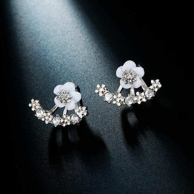 1 Pair Women Crystal Flower drop Earrings fashion Jewelry Double Sided Gold Silv