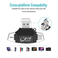 card reader 4 in 1 Micro USB Type-C TF Secure Digital Card Reader High speed Micro SDs TF Memory Cardreader OTG Adapter for iPhone (2)