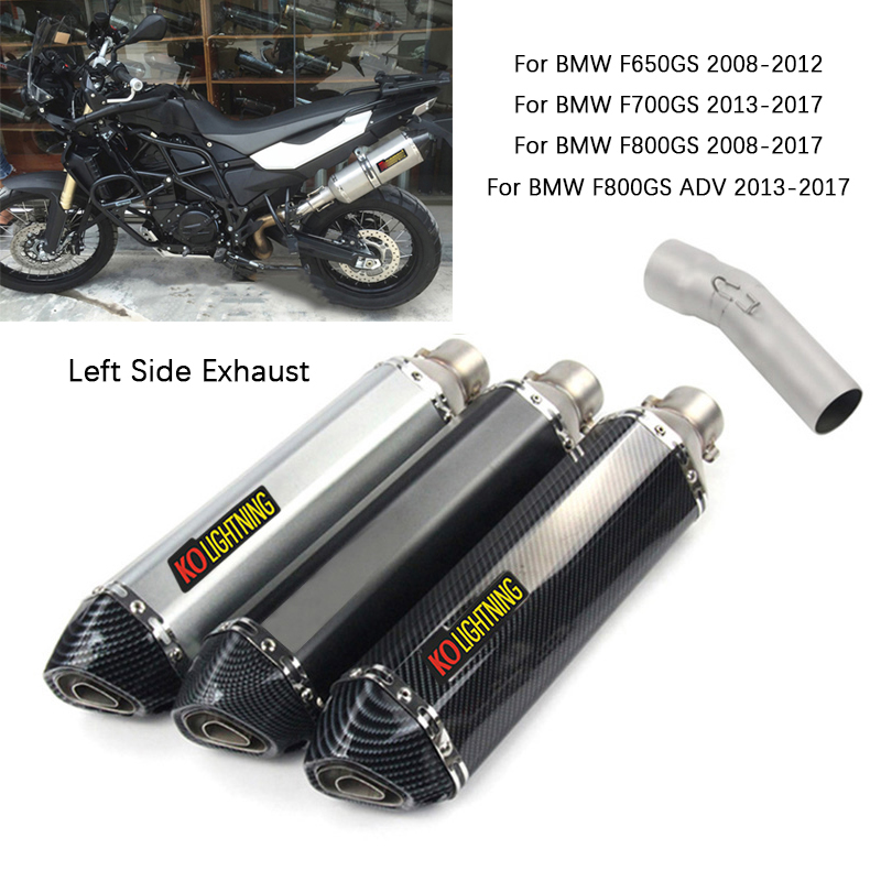 Tubo de conexión medio para motocicleta, silenciador izquierdo extraíble DB Killer de 51mm, para BMW F650GS, F700GS, F800GS, 470mm