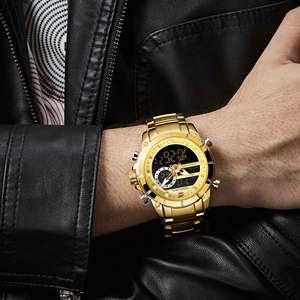 Image 4 - Nowy NAVIFORCE mężczyźni moda militarna zegarek złoty kwarc zegarek stalowy wodoodporny podwójny wyświetlacz męski zegarek na rękę Relogio Masculino