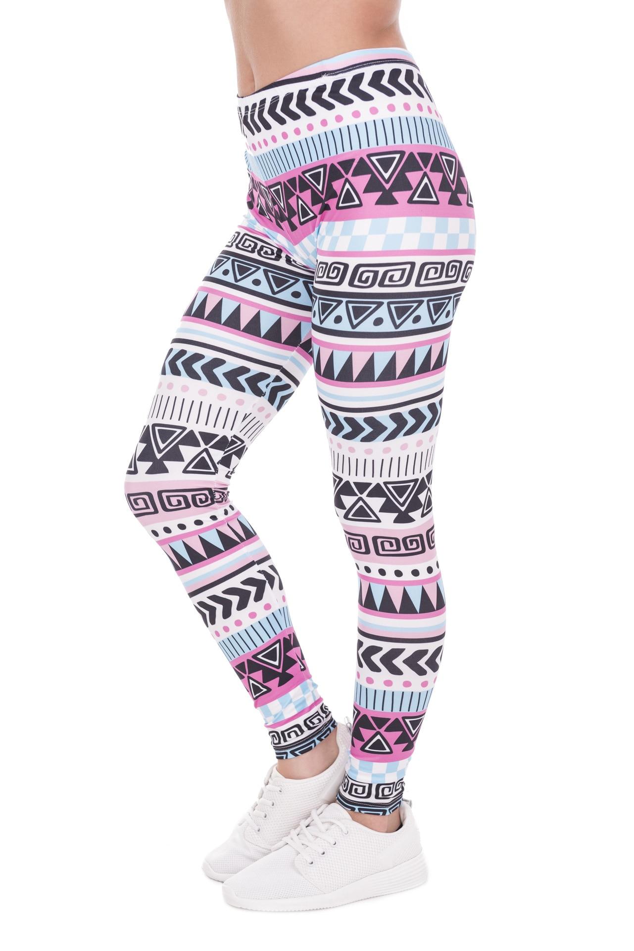Geometric Stripes Europe And America Printing Ninth Pants High-waisted Sports Large Size Leggings Women's Leggings 41584