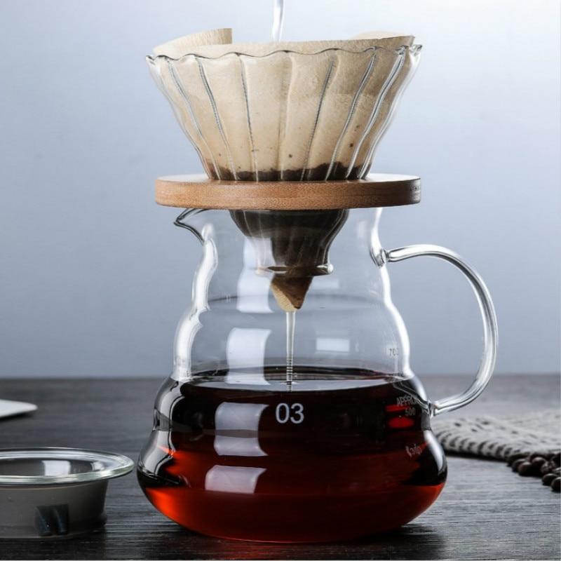 800 мл/600 мл/350 мл Деревянные кронштейны стеклянная капельница для кофе и набор кастрюль для Hario style V60 стеклянный фильтр для кофе многоразовый ...