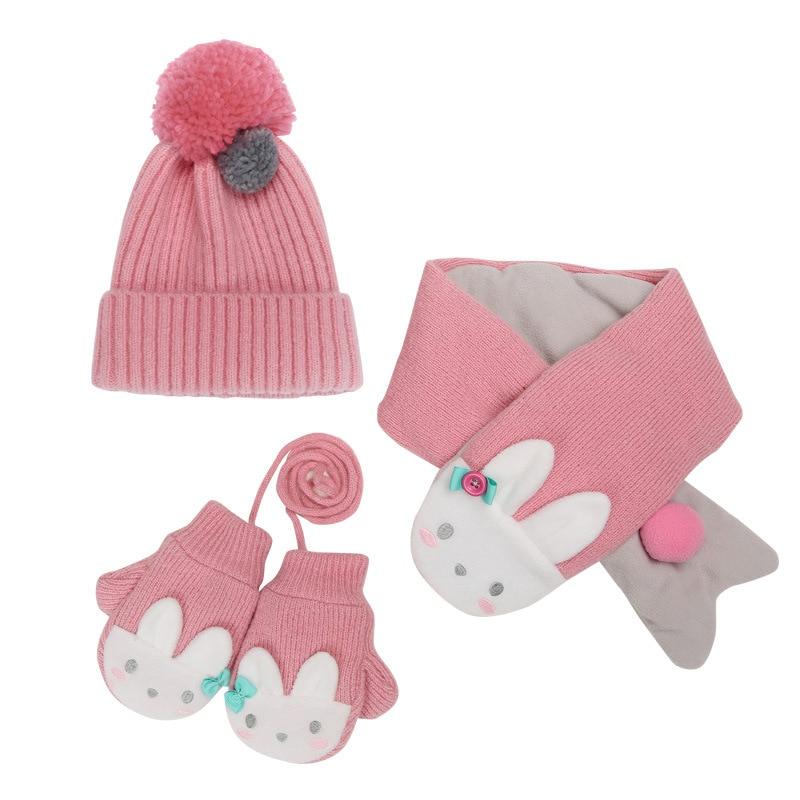 COKK Kids Hat & Scarf Winter And Gloves Set For Girls Boys Velvet Thickening Cartoon Animals 3pcs/set Keep Warm Children