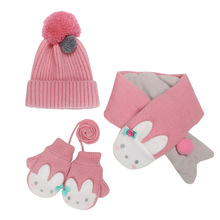 COKK Kids Hat & Scarf Winter And Gloves Set For Girls Boys Velvet Thickening Cartoon Animals 3pcs/set Keep Warm Children