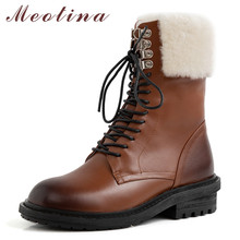 Купить с кэшбэком Meotina Winter Snow Boots Women Natural Genuine Leather Thick Heels Ankle Boots Warm Wool Round Toe Shoes Ladies Big Size 33-42
