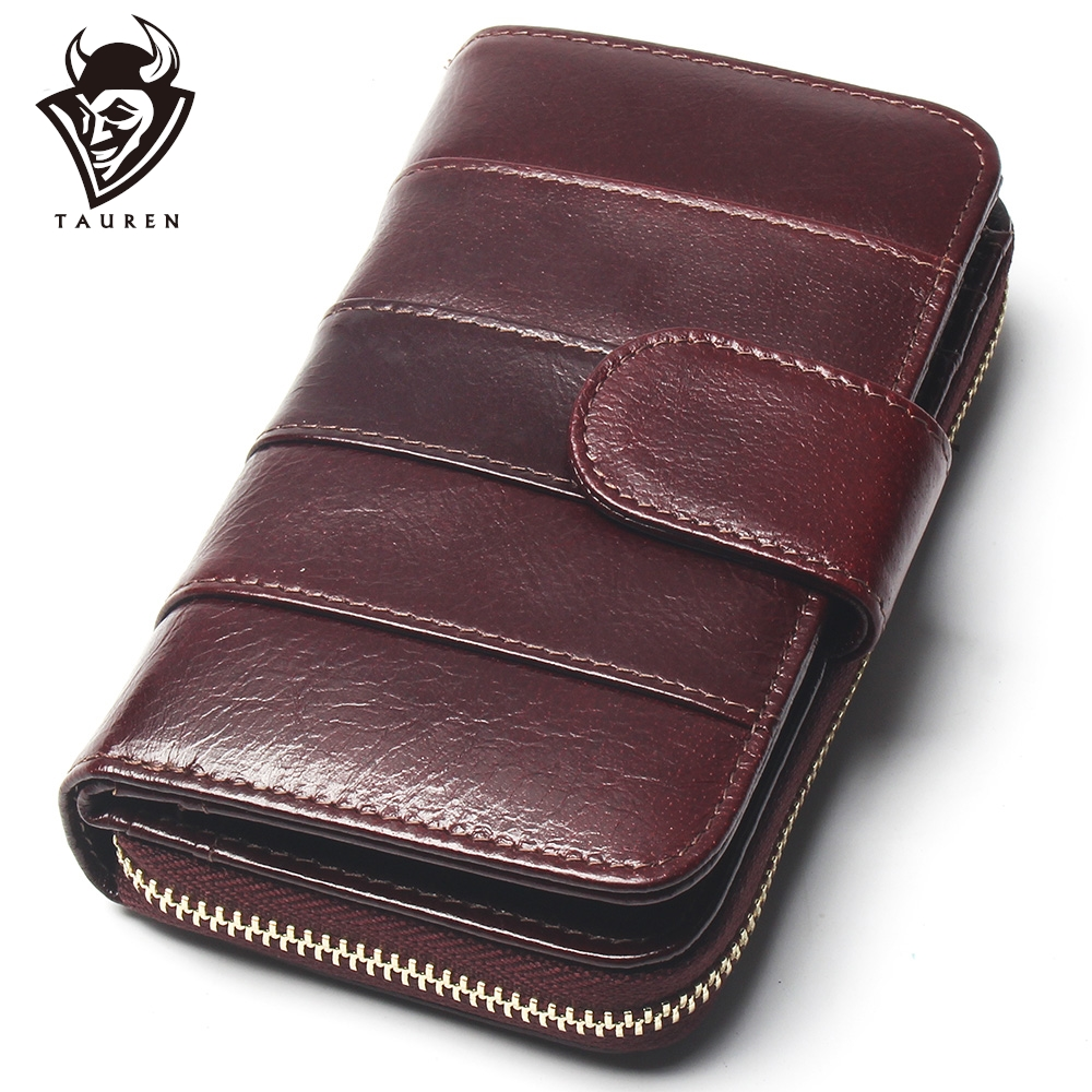 2020 New Style Layer Of Import Oil Wax Cowhide Medium Paragraph Buckle Leather Wallet Women's High Quality Purse
