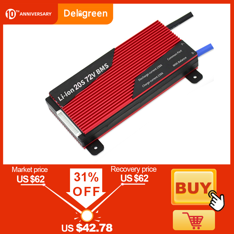 Deligreen 20S 80A 100A 120A 150A 200A 250A 72V BMS For Li-PO LiNCM Battery 18650 Pack E-bike Charge Discharge