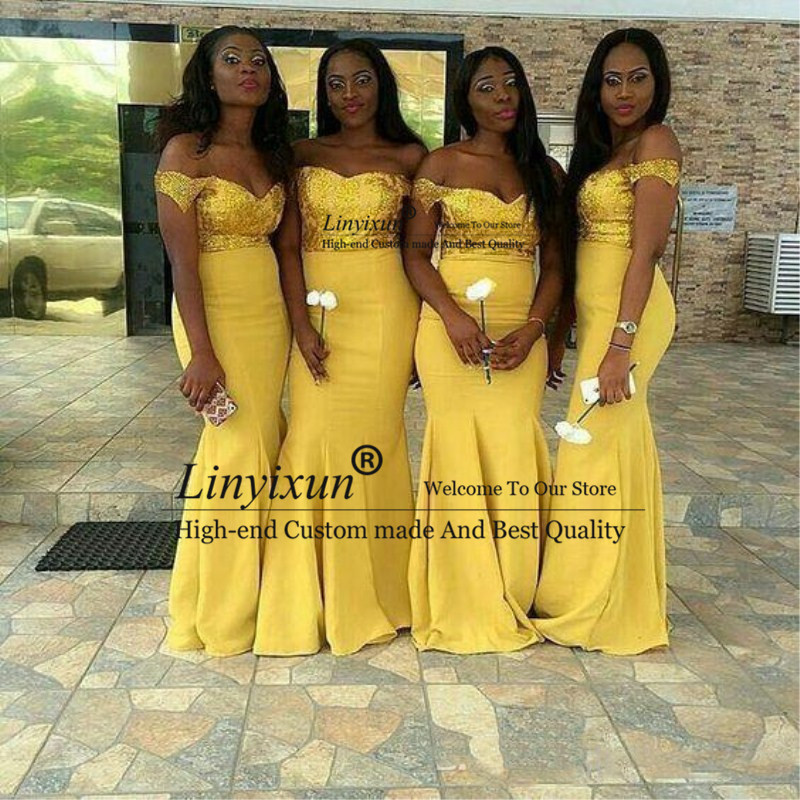 2019 Charming Yellow Lace   Bridesmaid     Dresses   Cap Sleeves Mermaid Satin Floor Length Modest Formal Prom   Bridesmaids   Gowns