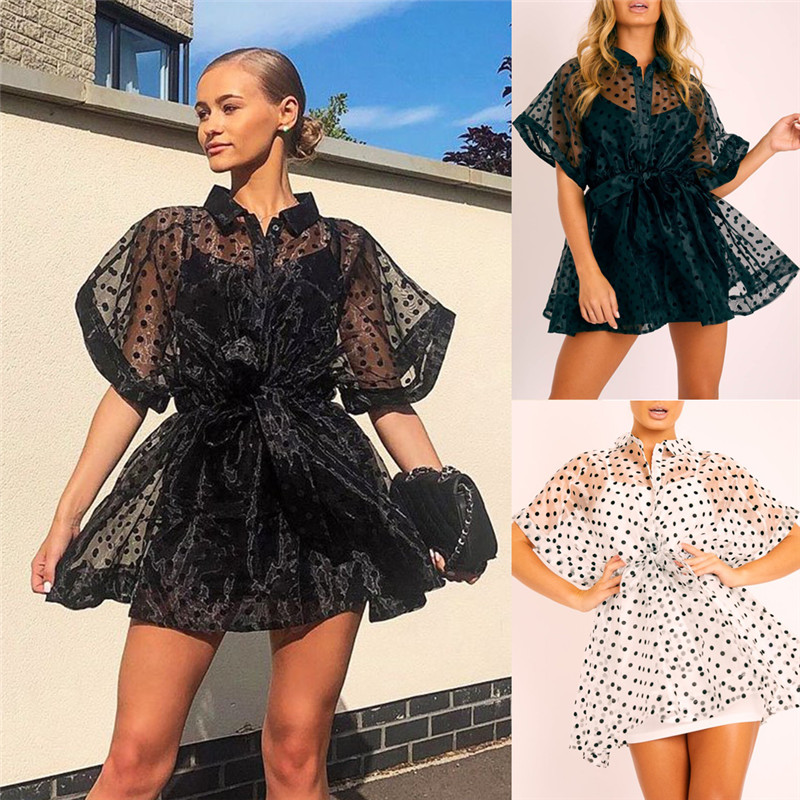 Sexy Women See Through Party Mesh Sheer Dress Tulle Lace Dot Print Dress Short Sleeve High Waist Lace-up Beach Dress White Black